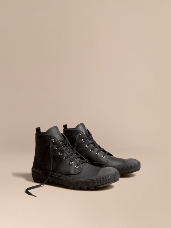 Lace-up Rubberised Leather Boots