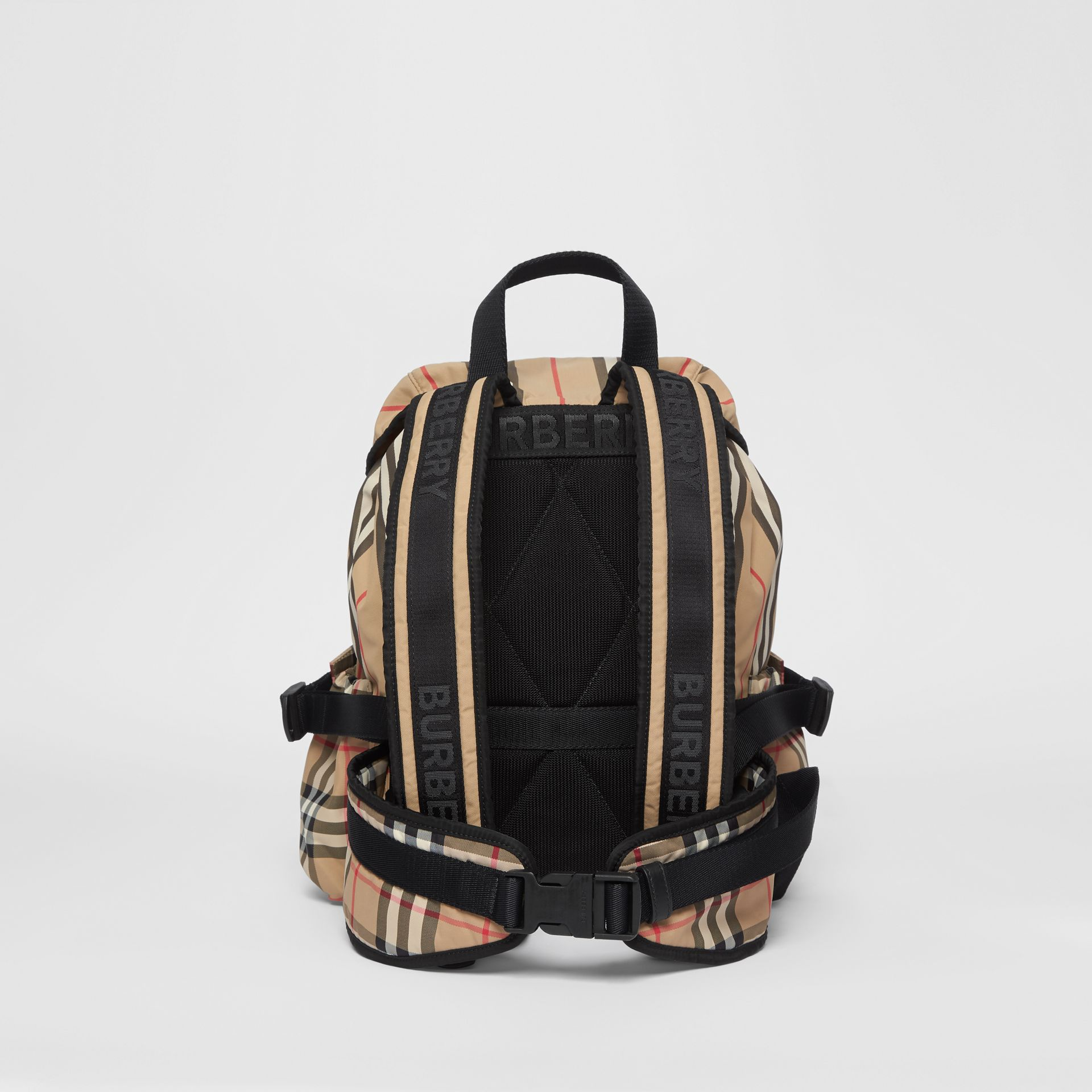 Logo Print Icon Stripe Nylon Backpack in Archive Beige - Women | Burberry Singapore - gallery image 7