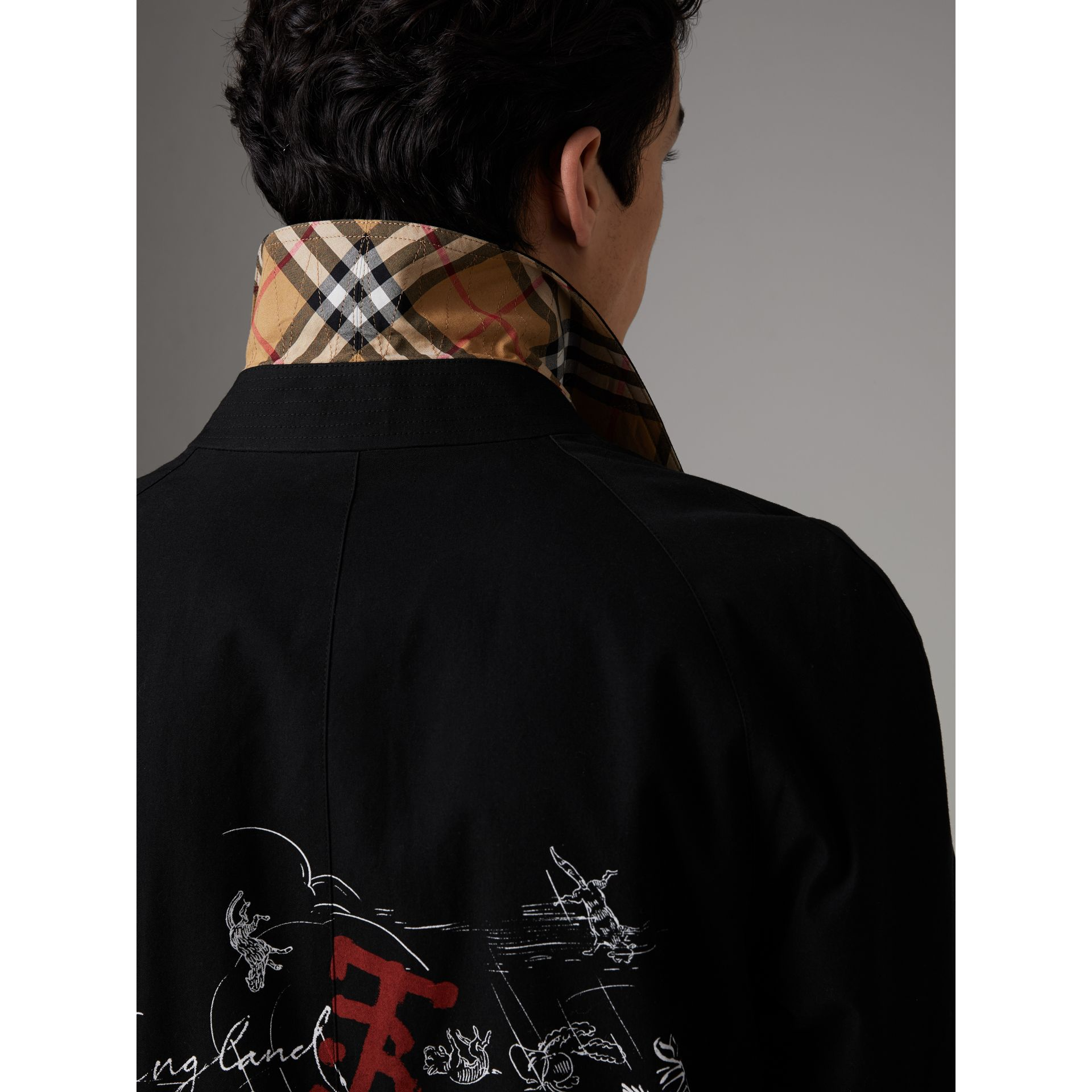 Sketch Print Car Coat in Black - Men | Burberry Australia - gallery image 5