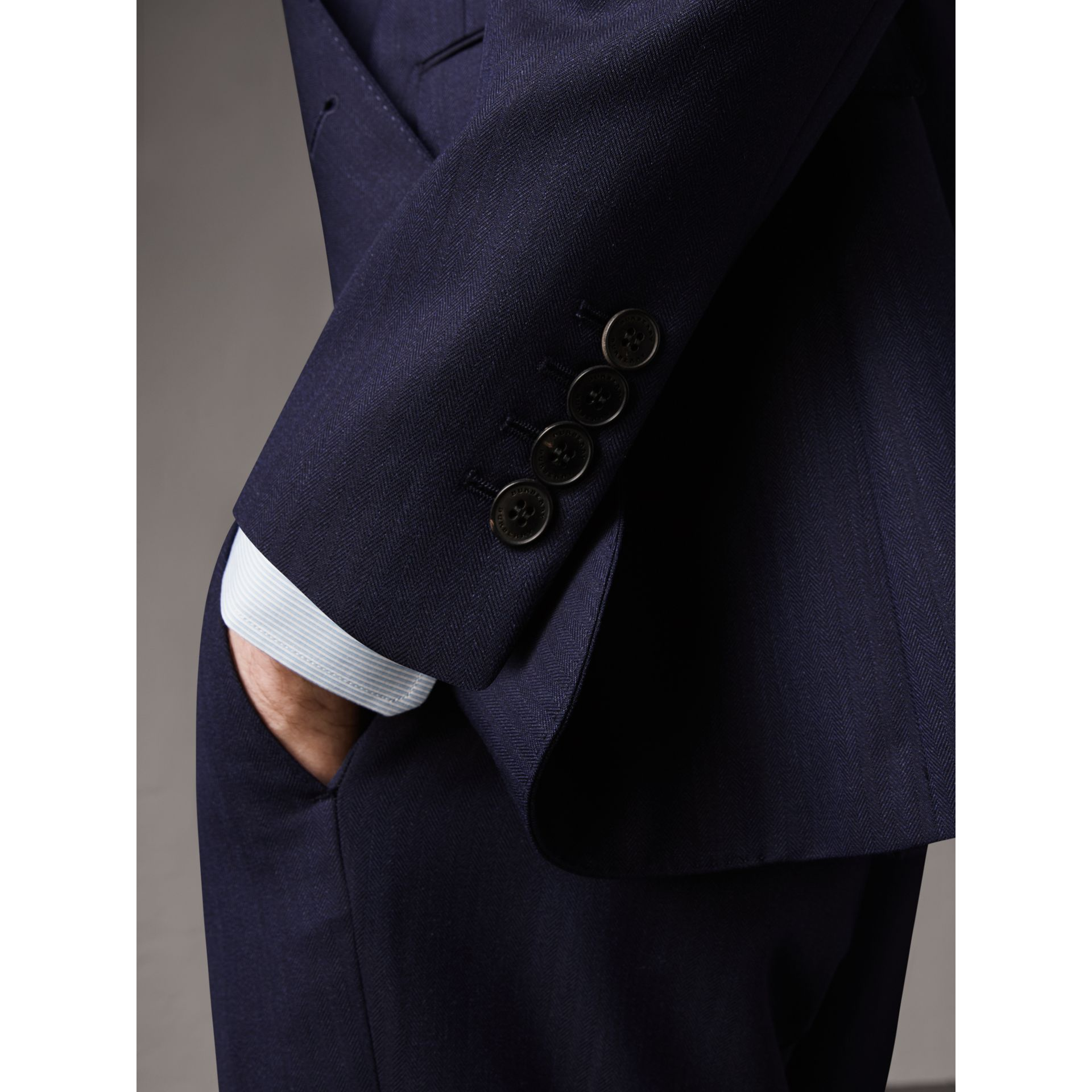 Soho Fit Herringbone Wool Suit in Navy - Men | Burberry United States - gallery image 4