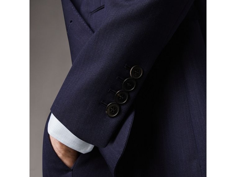 Soho Fit Herringbone Wool Suit in Navy - Men | Burberry - cell image 4
