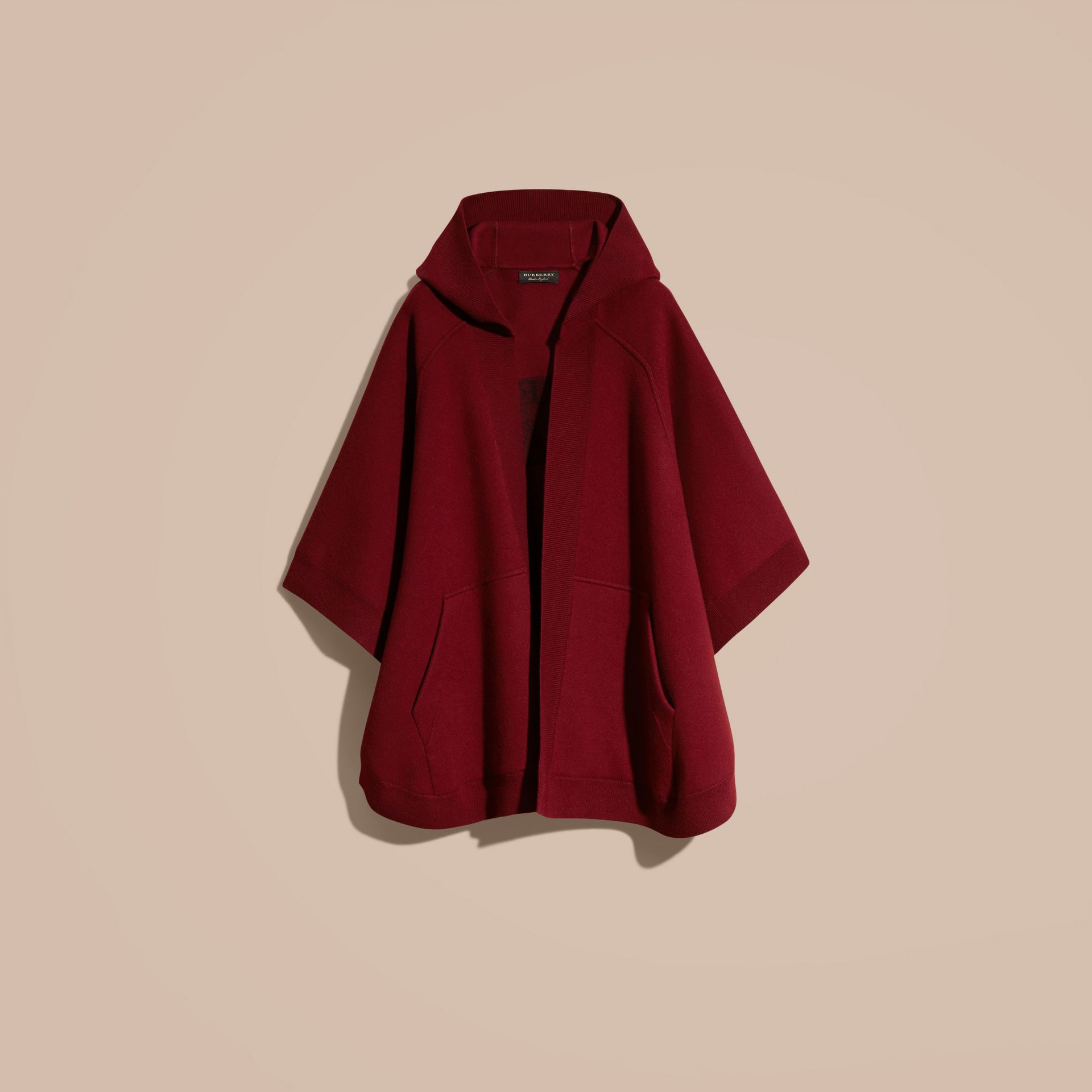Wool Cashmere Blend Hooded Poncho in Deep Red - Women | Burberry - gallery image 4