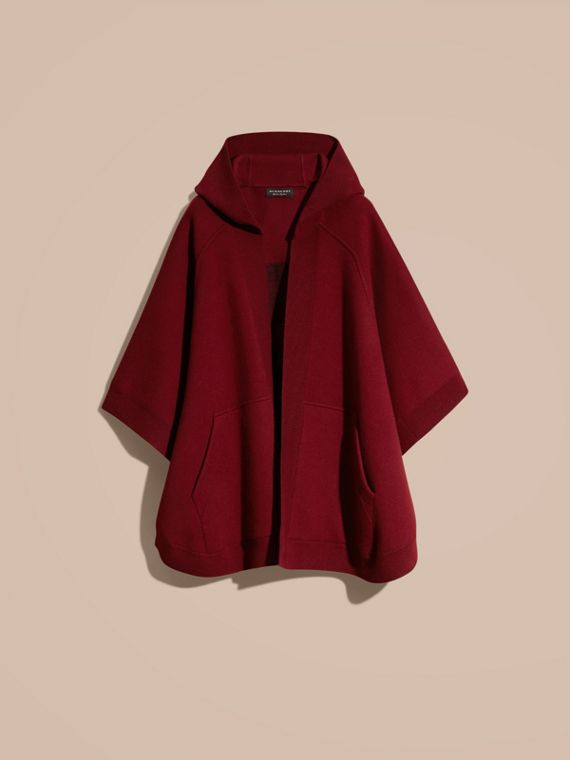 Wool Cashmere Blend Hooded Poncho Deep Red - cell image 3