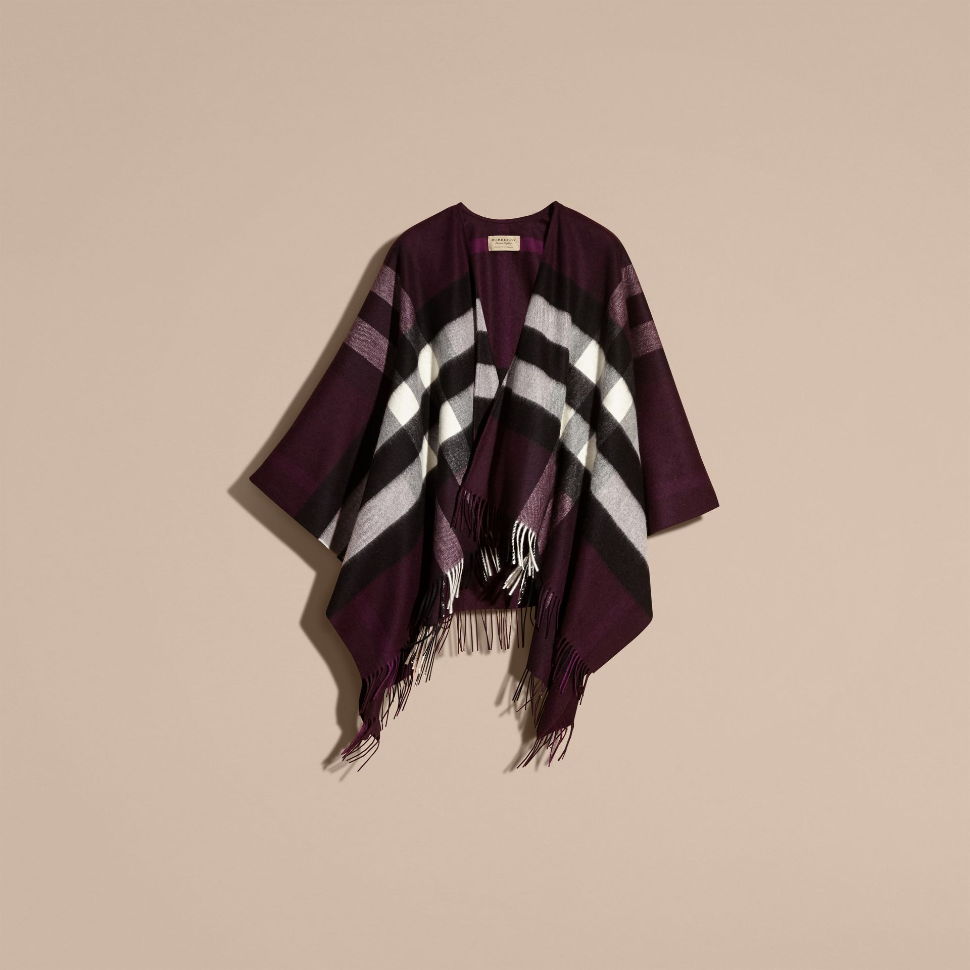 Check Cashmere and Wool Poncho Aubergine - gallery image 4