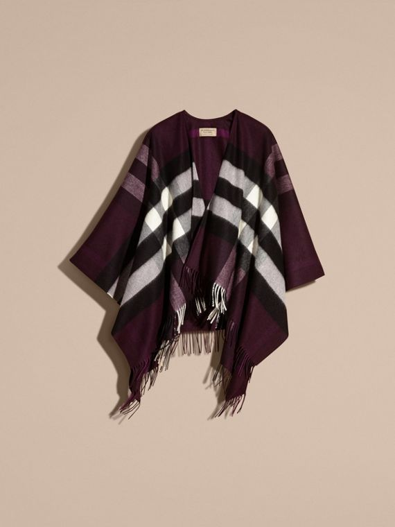 Check Cashmere and Wool Poncho Aubergine - cell image 3
