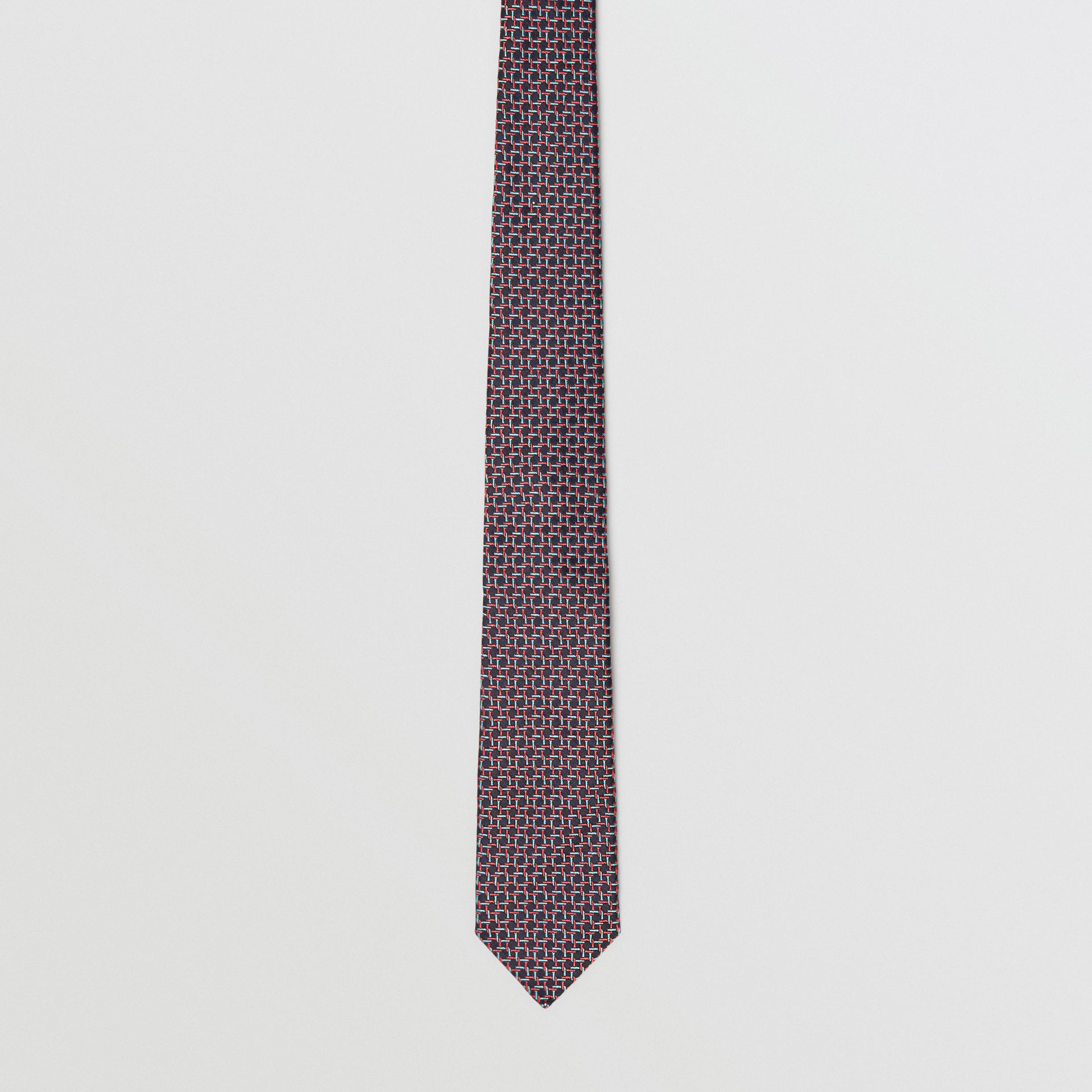 Slim Cut Micro Check Silk Jacquard Tie in Dark Navy - Men | Burberry - gallery image 4