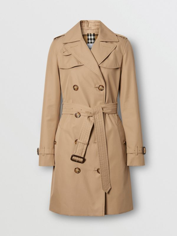 Cotton Gabardine Trench Coat in Biscuit - Women | Burberry - cell image 3