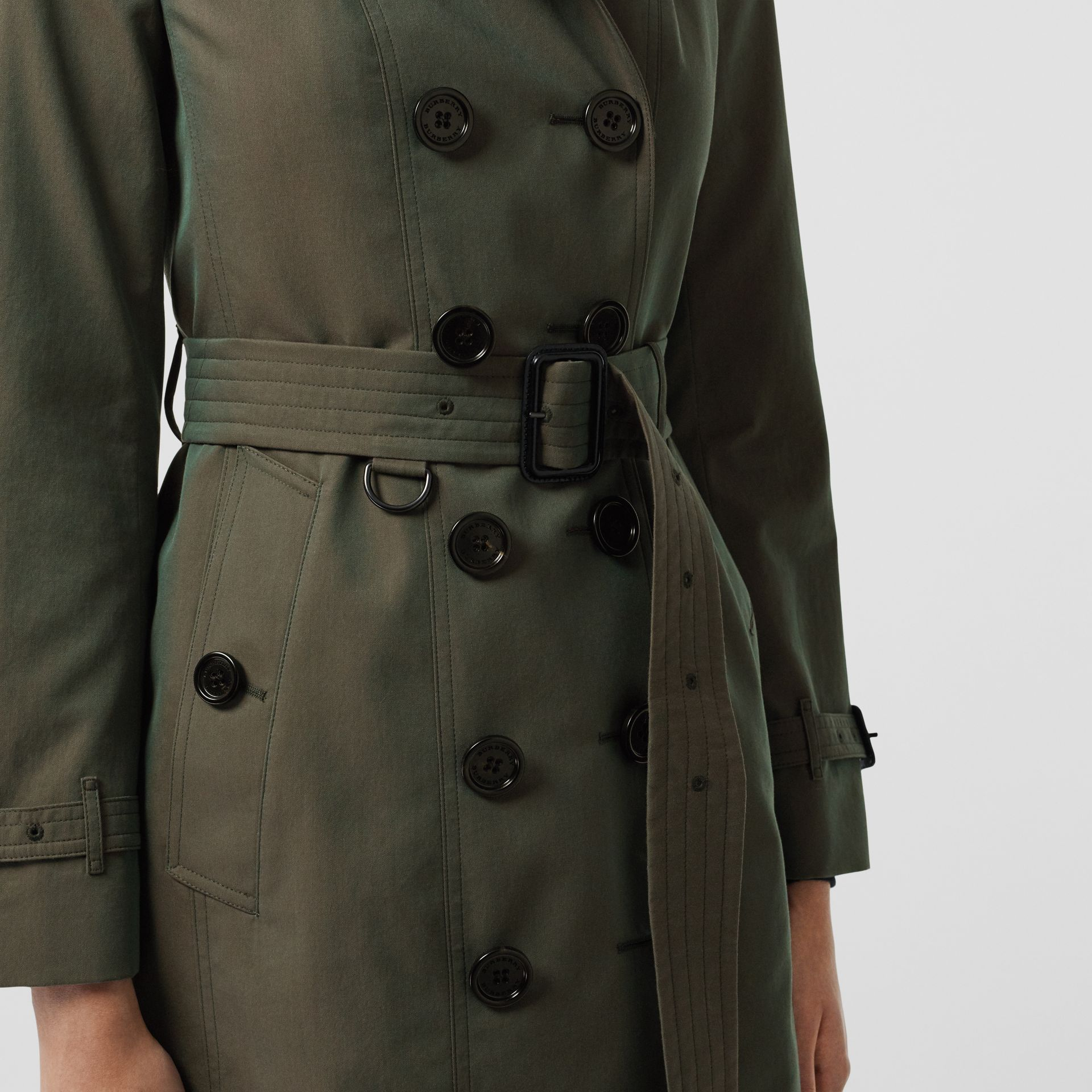 Sandringham Fit Cotton Gabardine Trench Coat in Dark Antique Green - Women | Burberry - gallery image 1