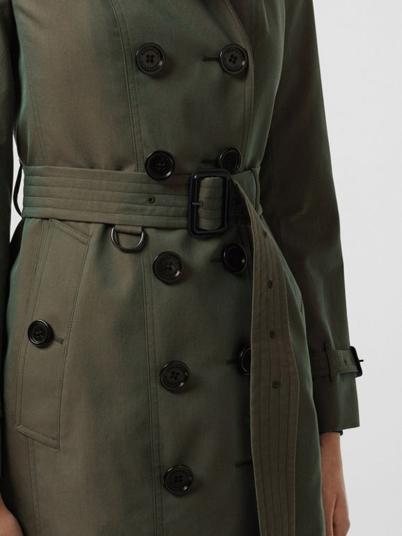 Sandringham Fit Cotton Gabardine Trench Coat in Dark Antique Green - Women | Burberry - cell image 1