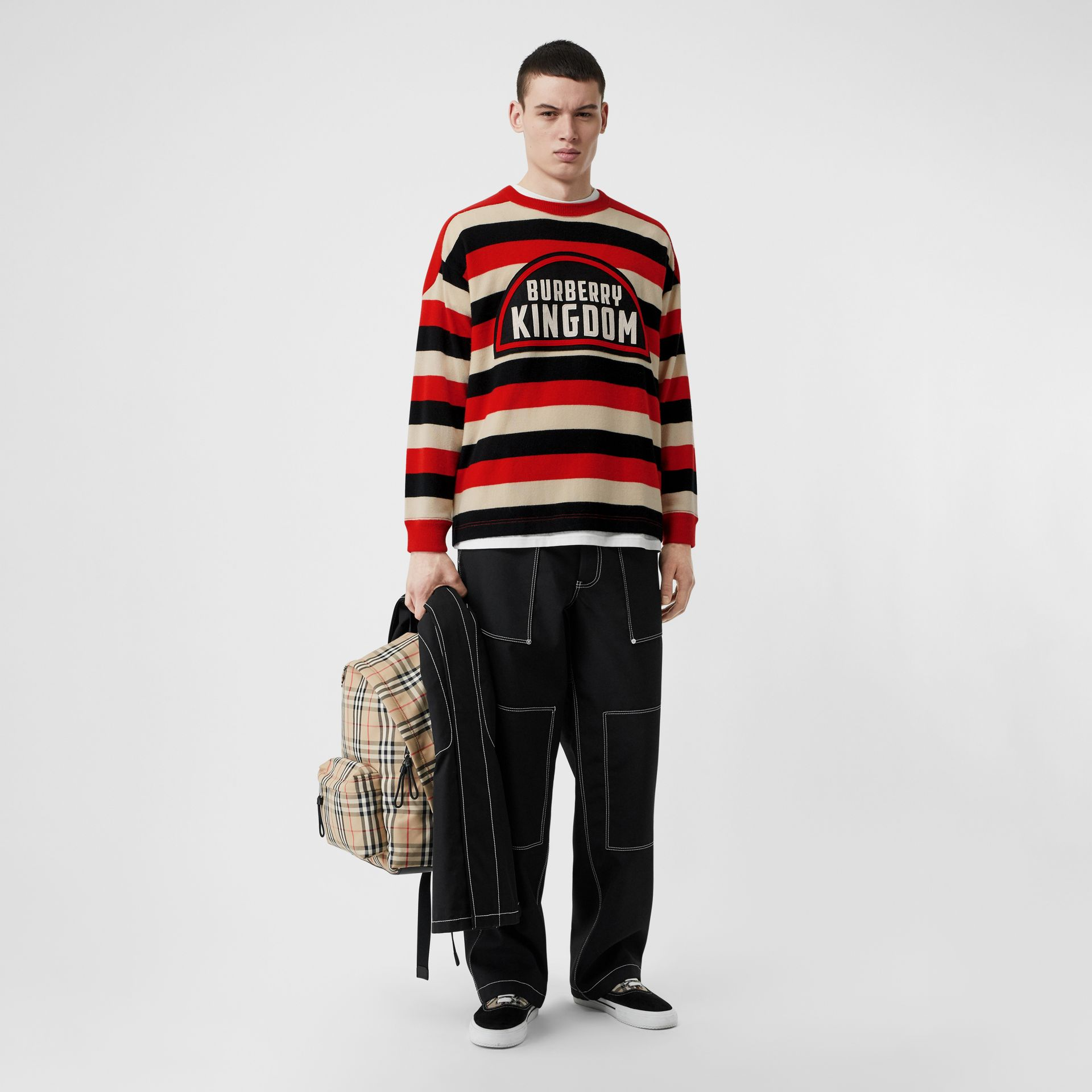 Kingdom Detail Striped Cashmere Sweater in Bright Red - Men | Burberry - gallery image 0