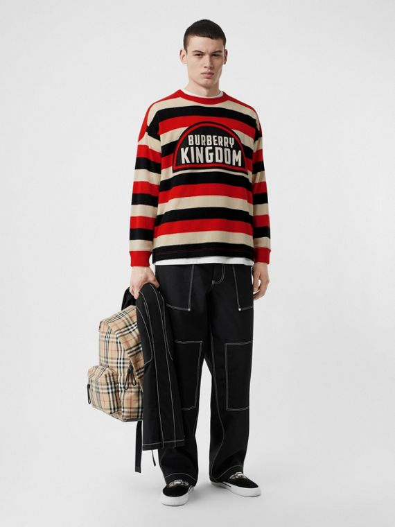Kingdom Detail Striped Cashmere Sweater in Bright Red