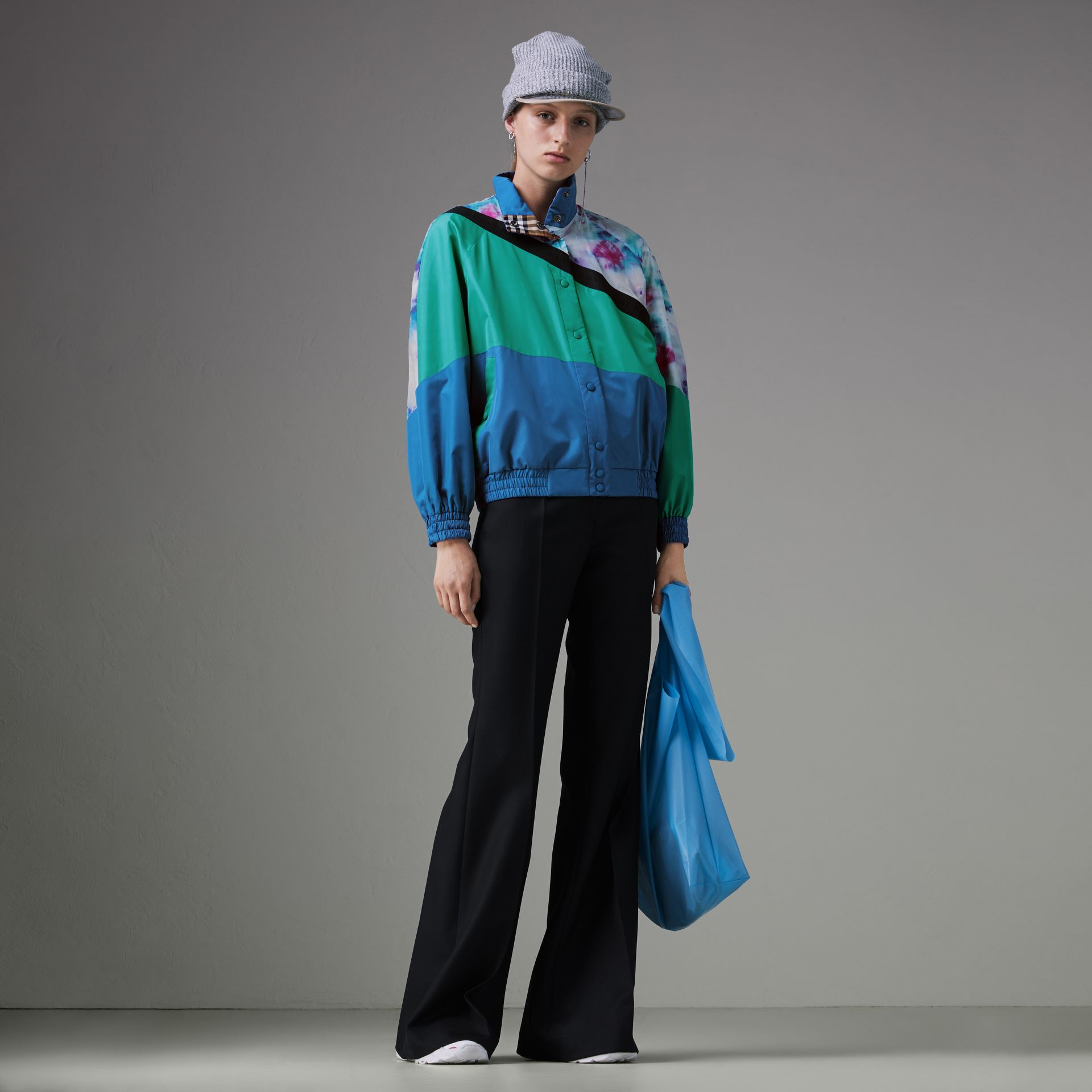 Tie-dye Silk Shell Suit Jacket in Turquoise - Women | Burberry United States - gallery image 0