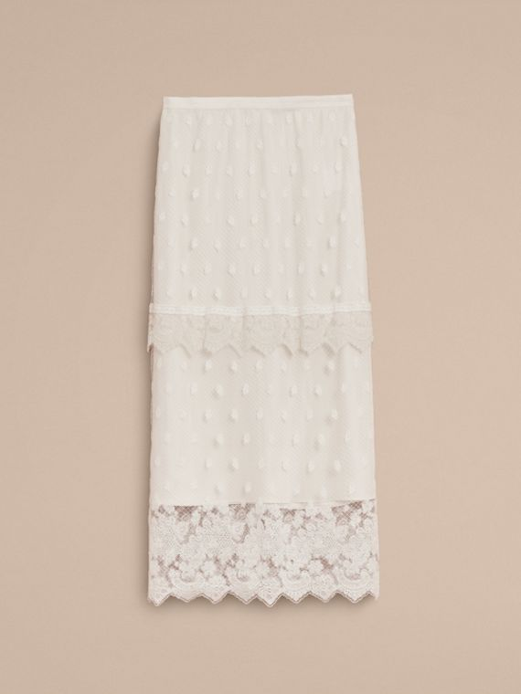 Embroidered Tulle Panelled Skirt in Off White - Women | Burberry - cell image 3
