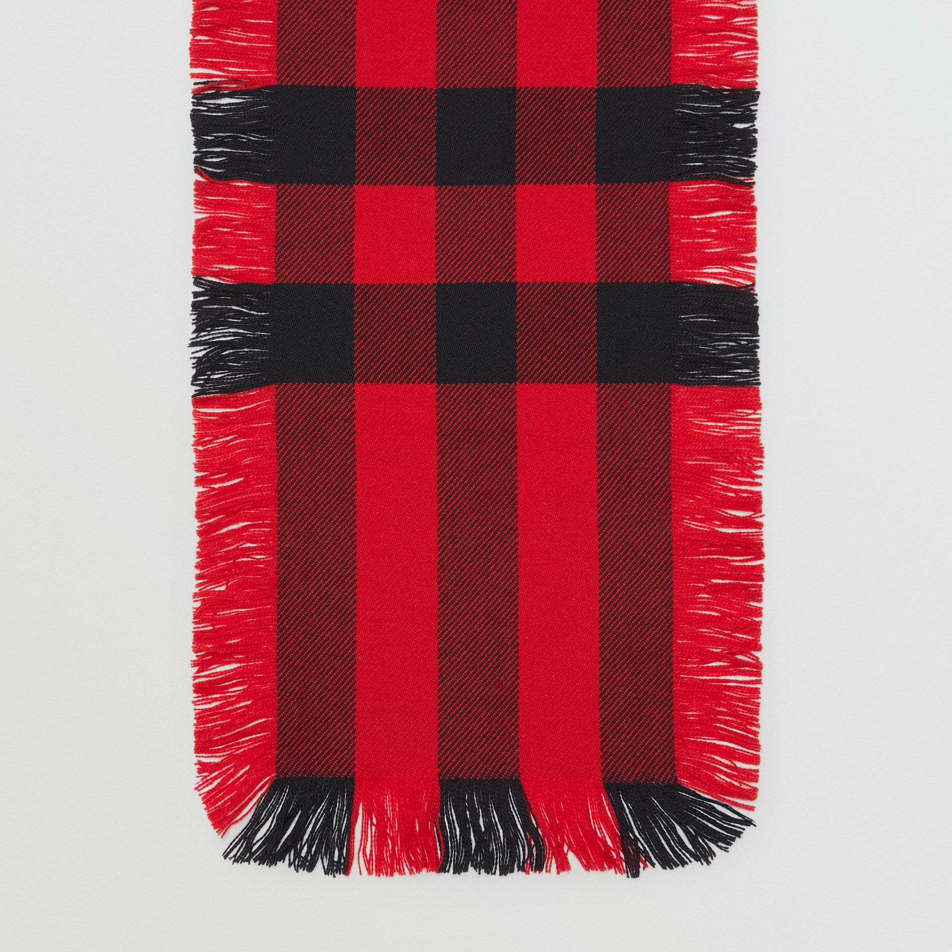 Fringed Check Wool Scarf in Military Red | Burberry - gallery image 4