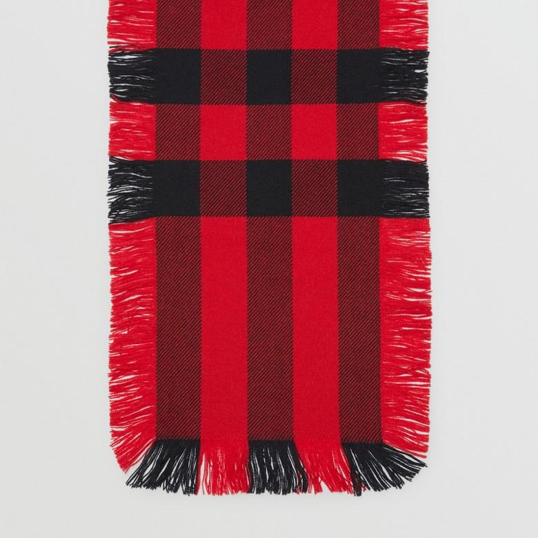Burberry - Écharpe en laine à motif check et à franges - 5