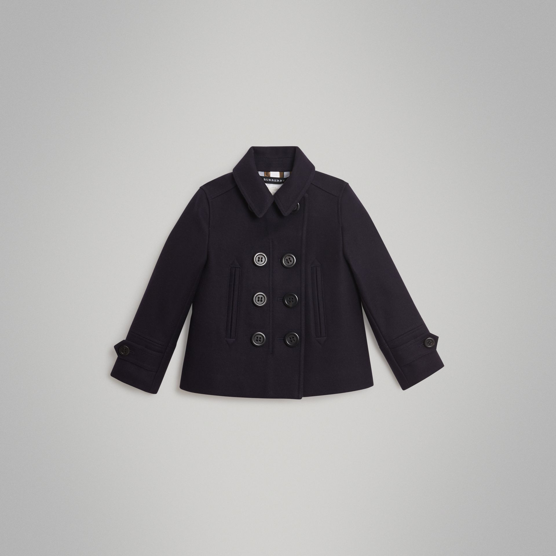 Wool Cashmere Blend Pea Coat in Navy | Burberry United States - gallery image 0