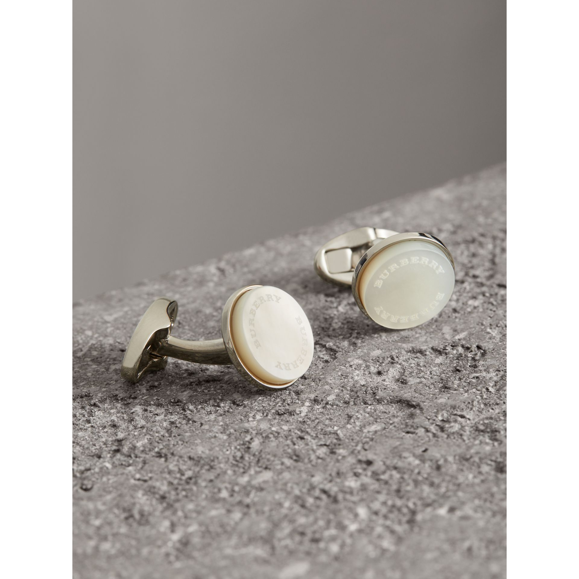 Mother-of-pearl Stone Round Cufflinks - Men | Burberry - gallery image 1
