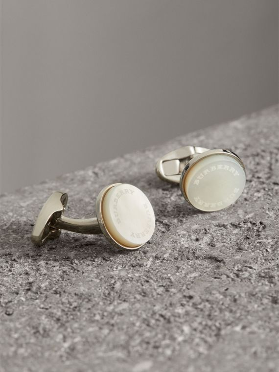 Mother-of-pearl Stone Round Cufflinks