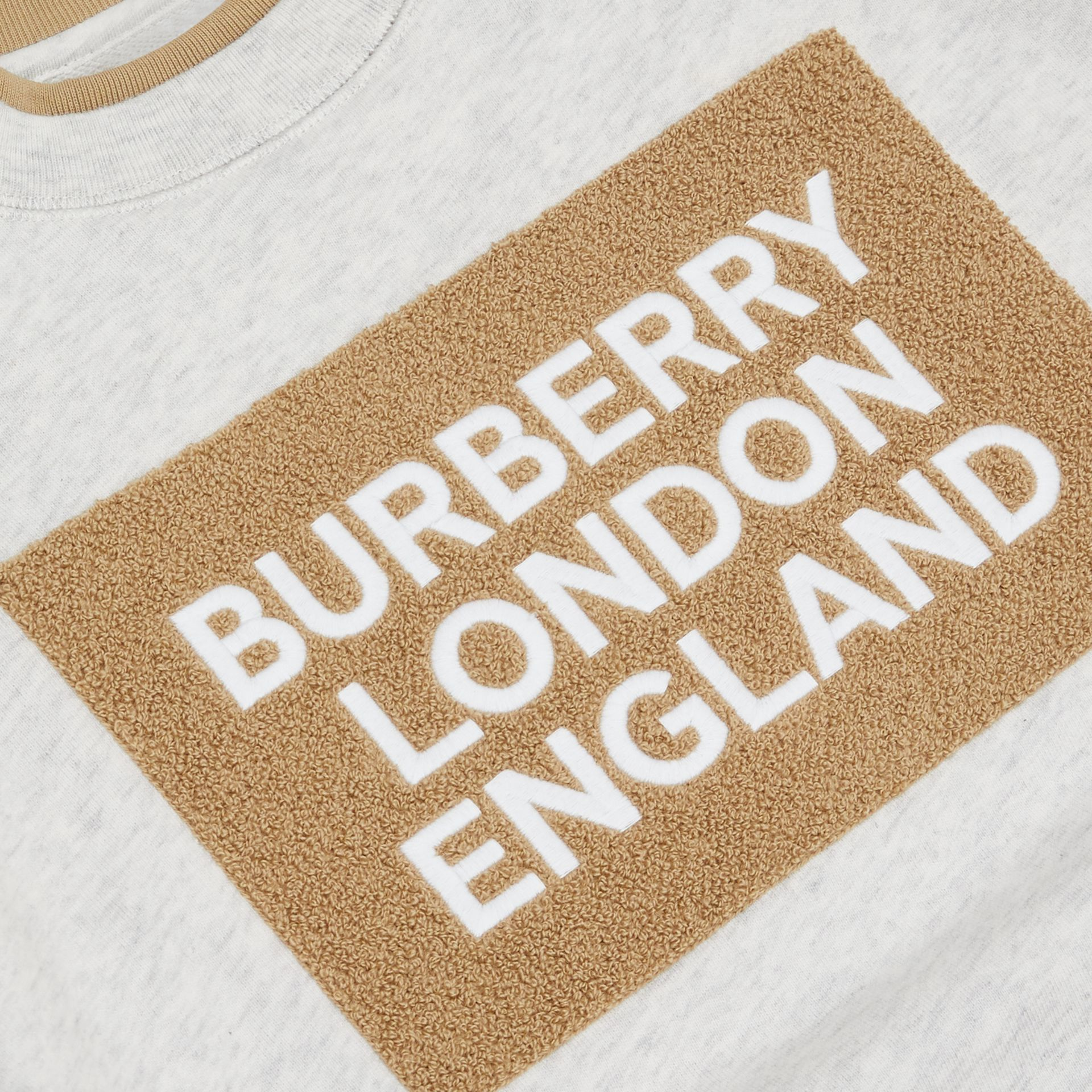 Logo Detail Cotton Sweatshirt in White Melange | Burberry - gallery image 1