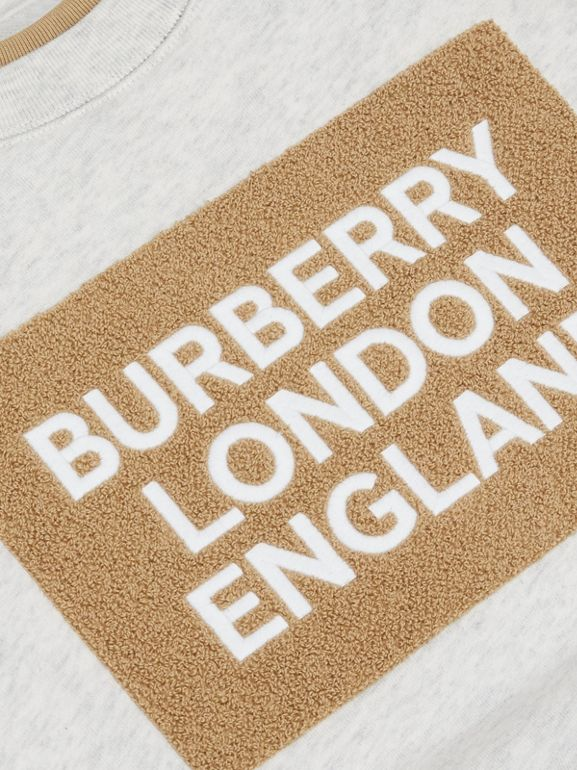 Logo Detail Cotton Sweatshirt in White Melange | Burberry Singapore - cell image 1