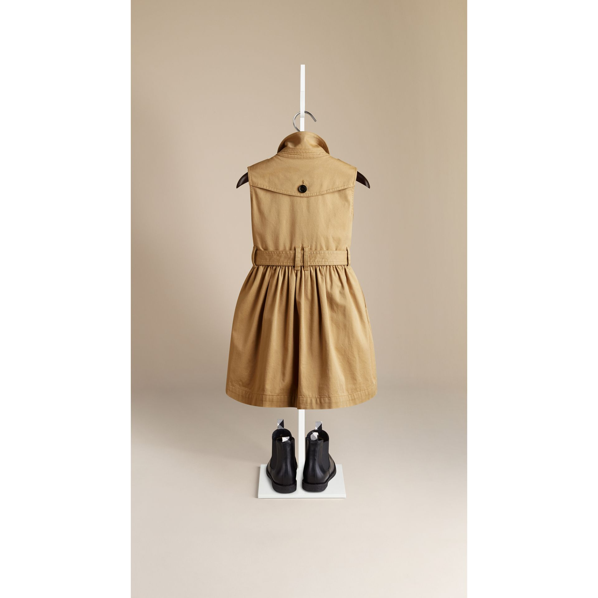 Sleeveless Stretch Cotton Trench Dress - gallery image 2
