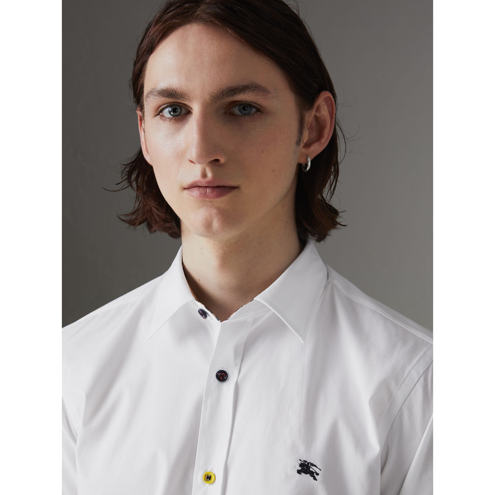 Contrast Button Stretch Cotton Shirt in White - Men | Burberry Canada - gallery image 1