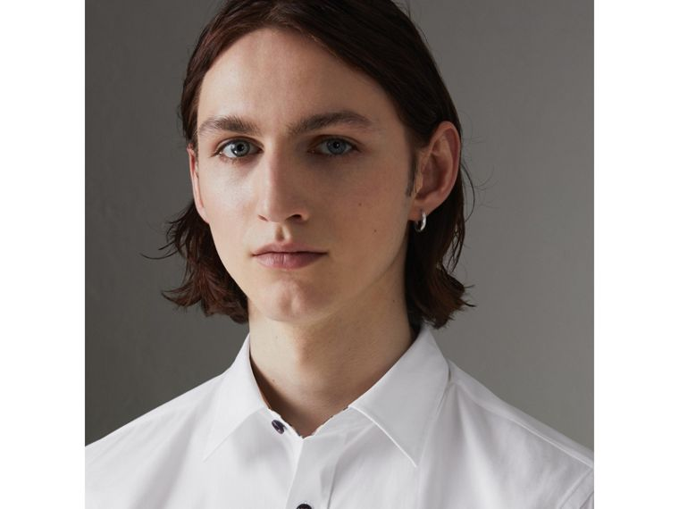 Contrast Button Stretch Cotton Shirt in White - Men | Burberry United Kingdom - cell image 1