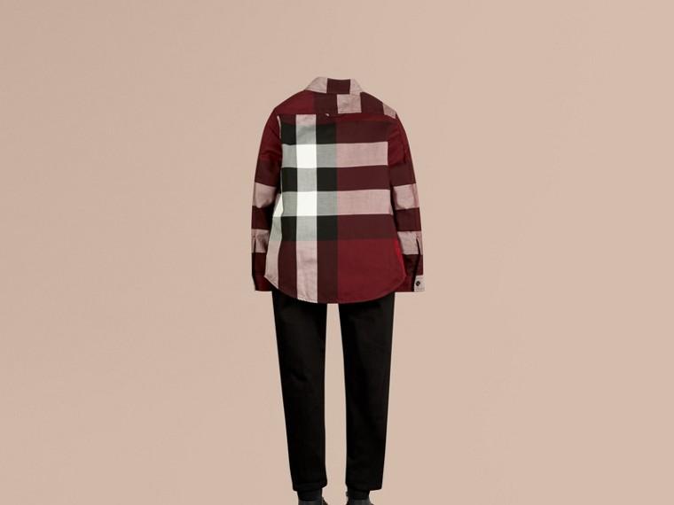 葡萄紅 格紋棉質襯衫 葡萄紅 - cell image 2