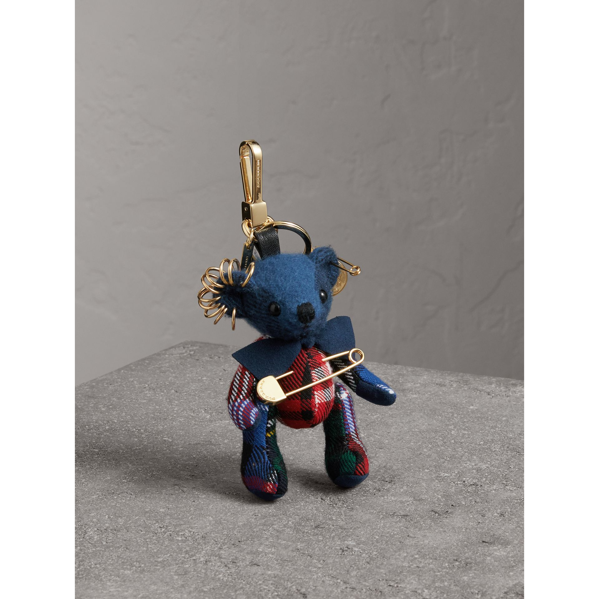 Thomas Bear Charm with Kilt Pin in Cadet Blue | Burberry Australia - gallery image 0