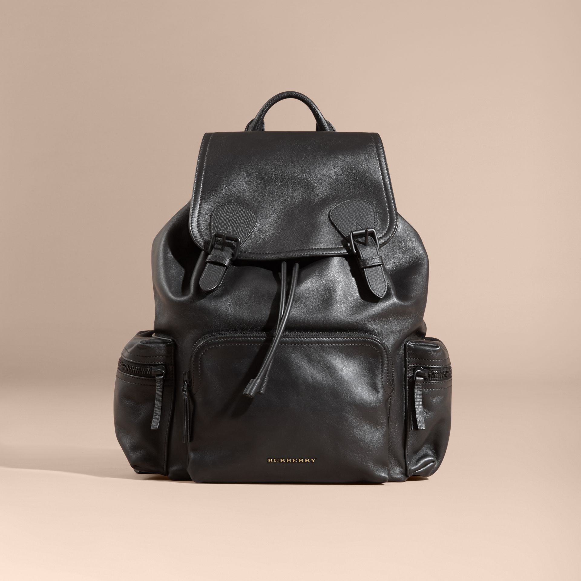 The Large Rucksack in Water-repellent Leather in Black - gallery image 5