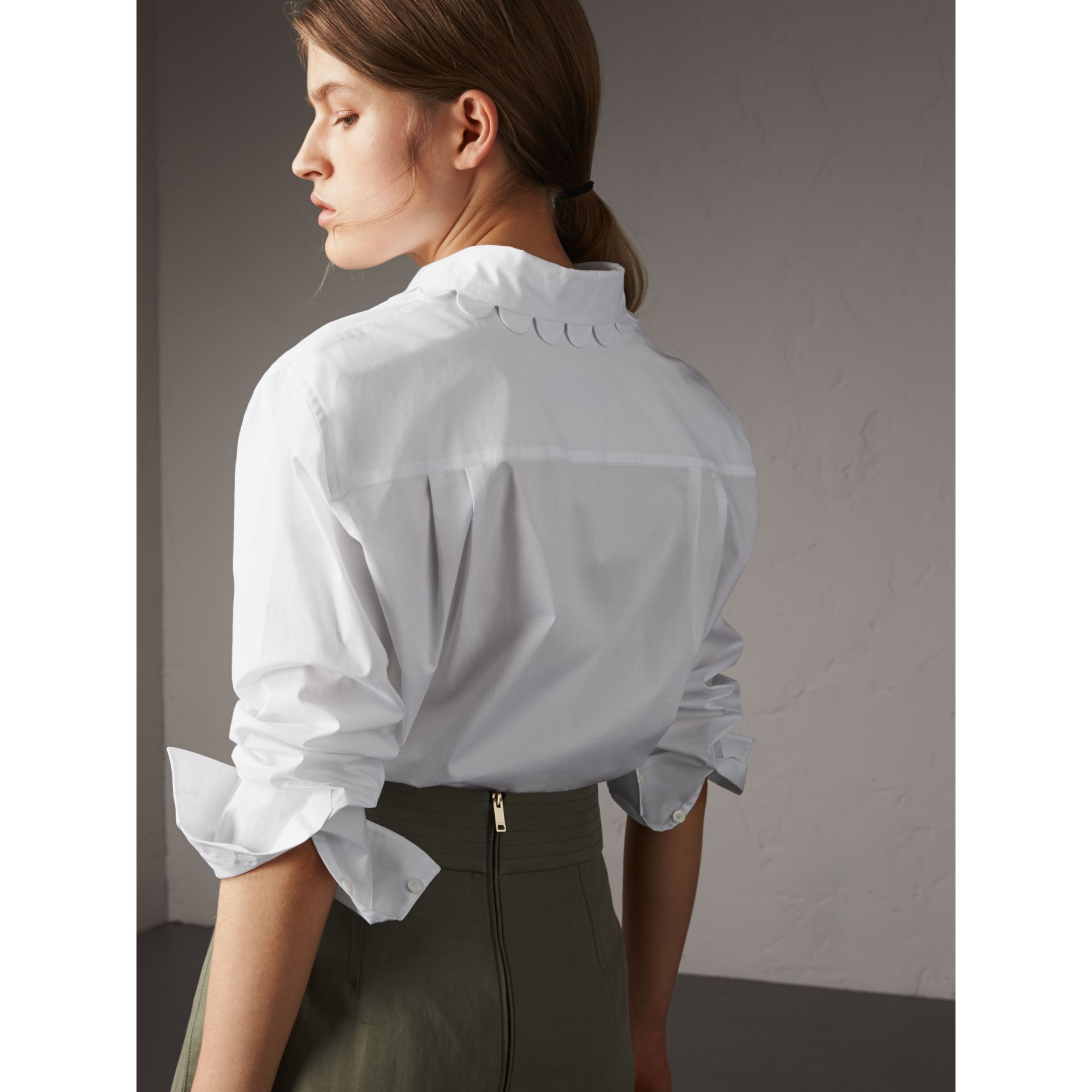 Scalloped Stretch Cotton Shirt - Women | Burberry - gallery image 3