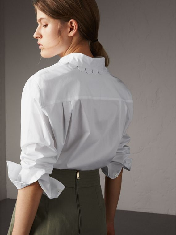Scalloped Stretch Cotton Shirt - Women | Burberry - cell image 2
