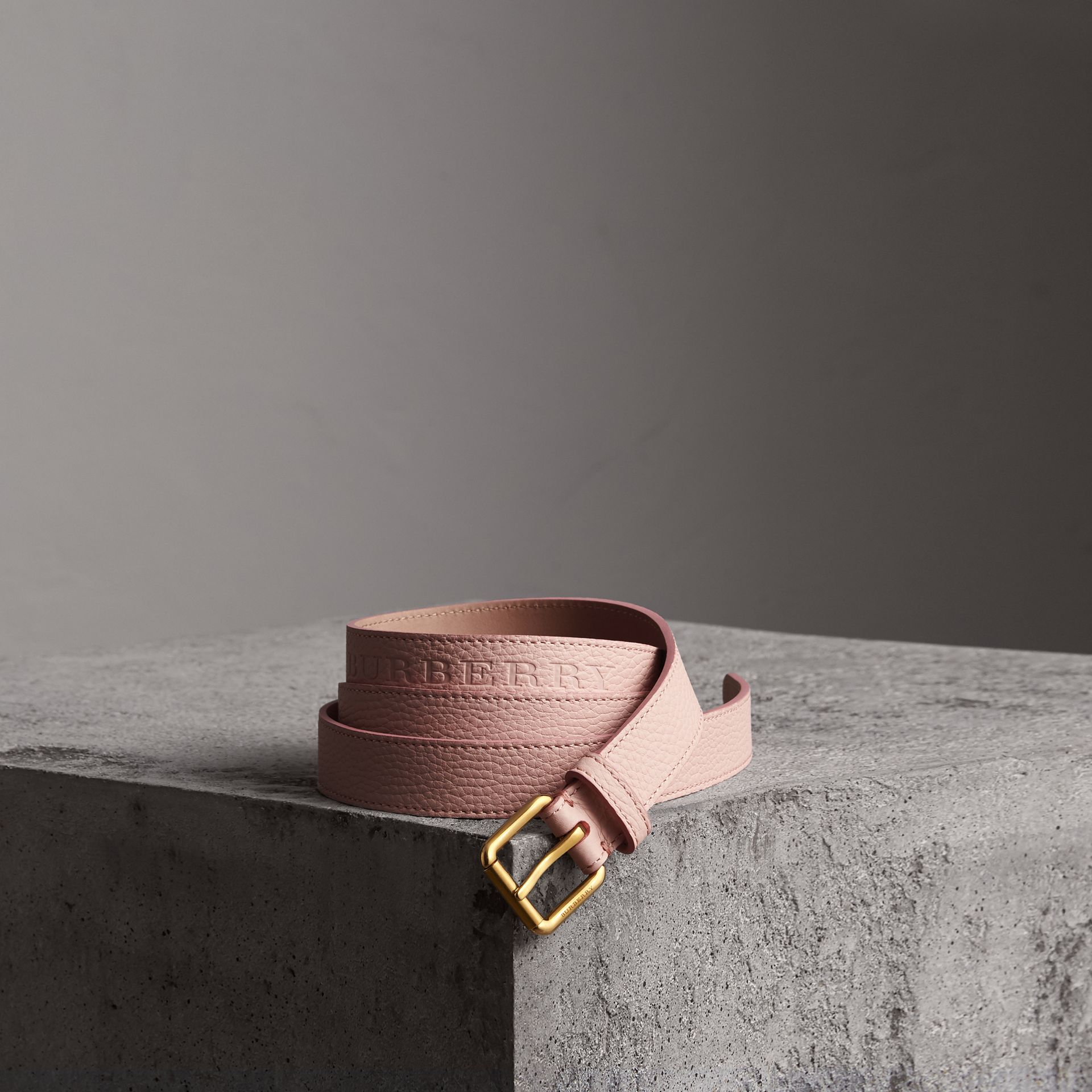Embossed Leather Belt in Pale Ash Rose - Women | Burberry United States - gallery image 0