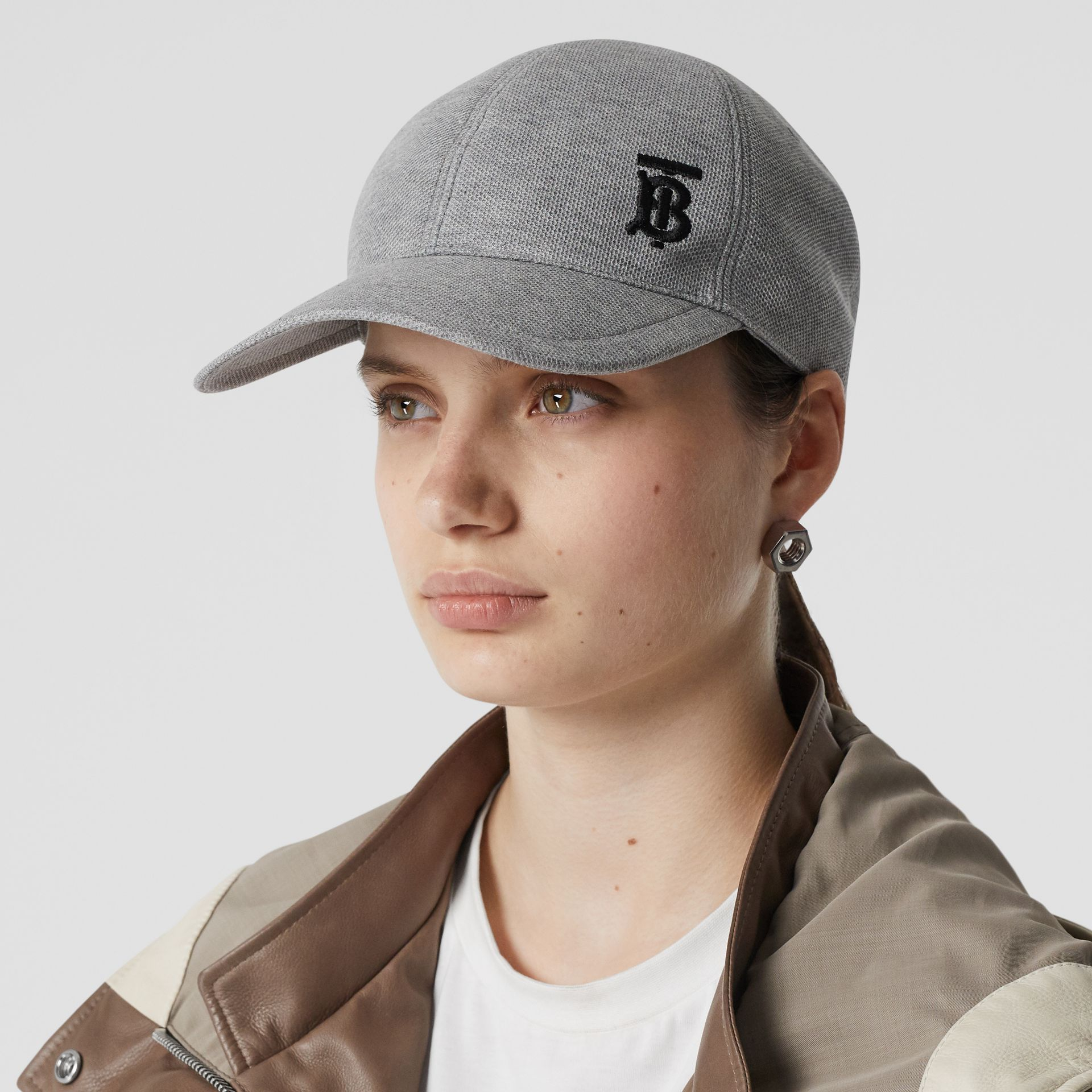 Monogram Motif Baseball Cap in Pale Grey Melange | Burberry - gallery image 2