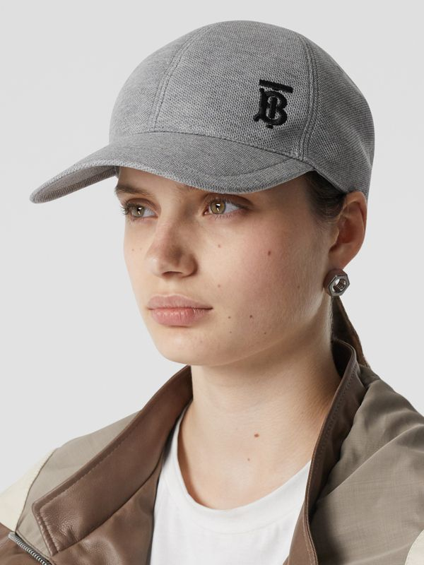 Monogram Motif Baseball Cap in Pale Grey Melange | Burberry - cell image 2