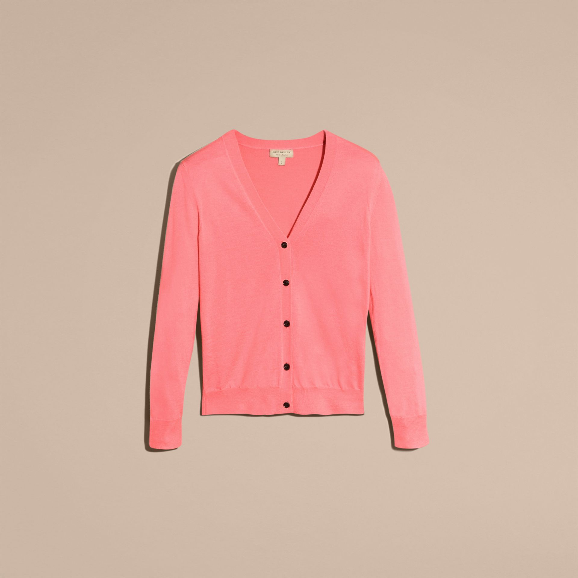 Check Detail Merino Wool Cardigan Pale Rose Pink - gallery image 4