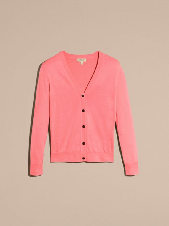 Check Detail Merino Wool Cardigan Pale Rose Pink - cell image 3