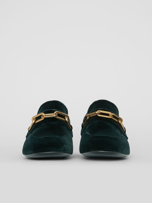 Link Detail Velvet Block-heel Loafers in Dark Forest Green - Women | Burberry - cell image 3