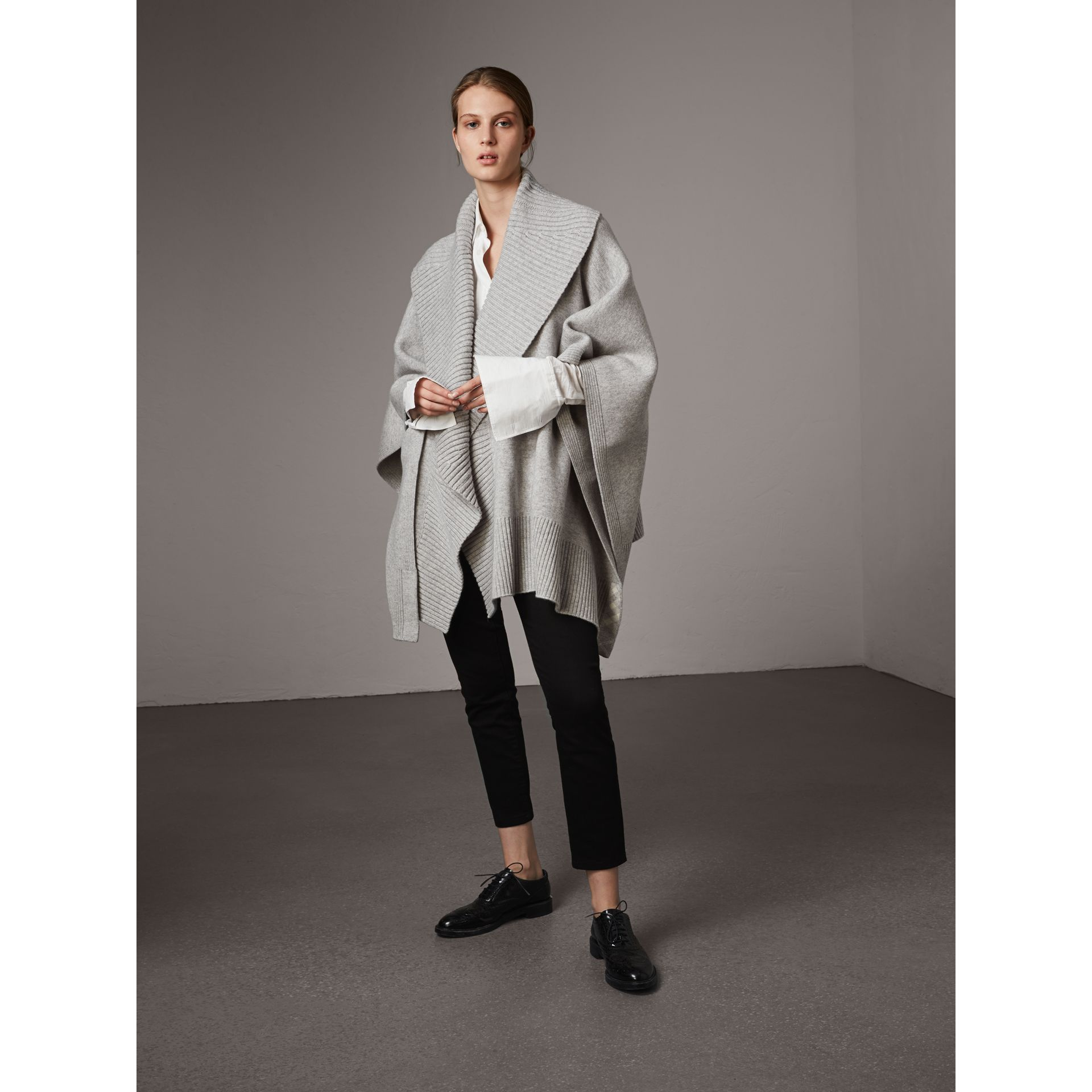 Shawl Collar Wool Cashmere Poncho in Mid Grey Melange - Women | Burberry Australia - gallery image 6
