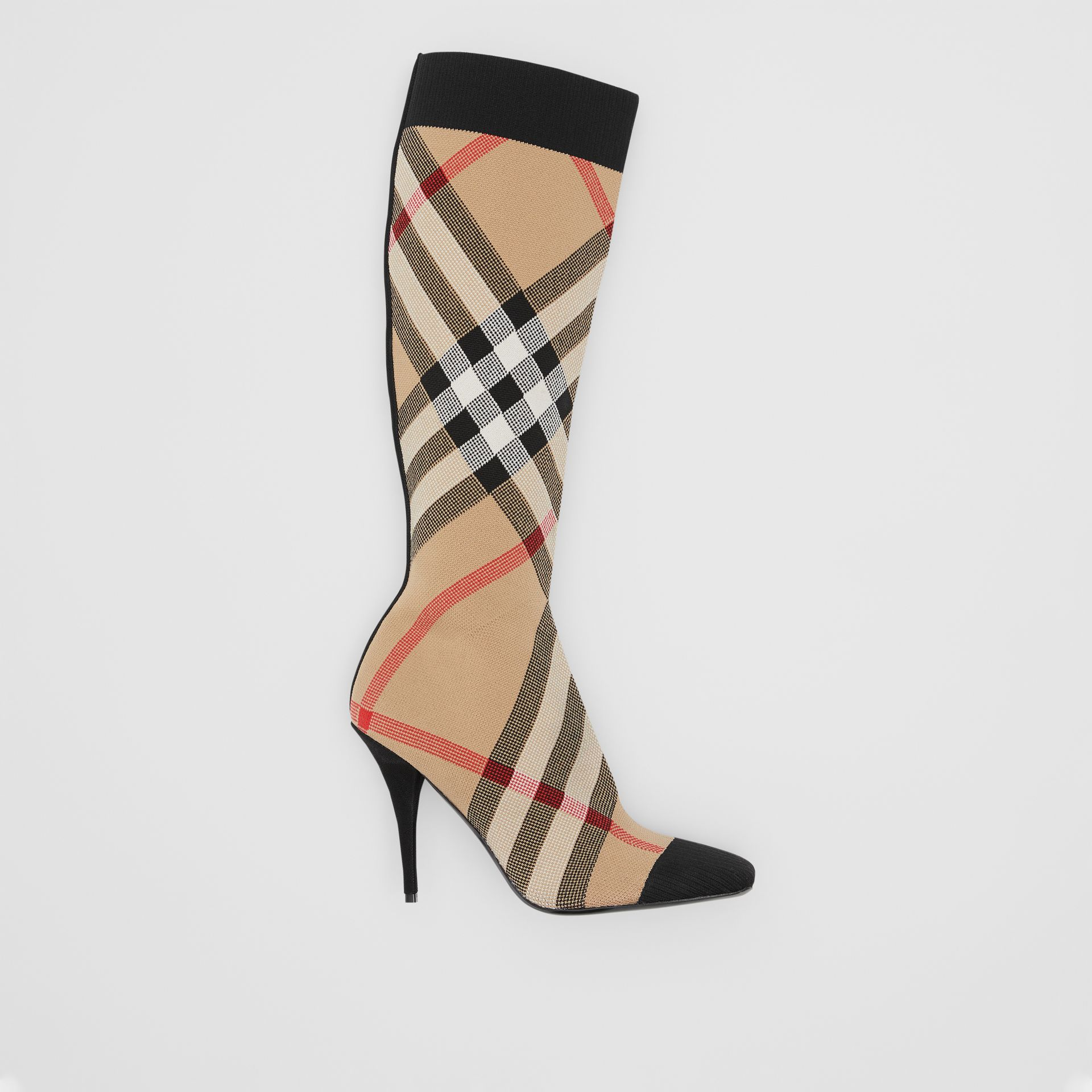 Check Stretch Knit Sock Boots in Archive Beige - Women | Burberry United Kingdom - gallery image 0