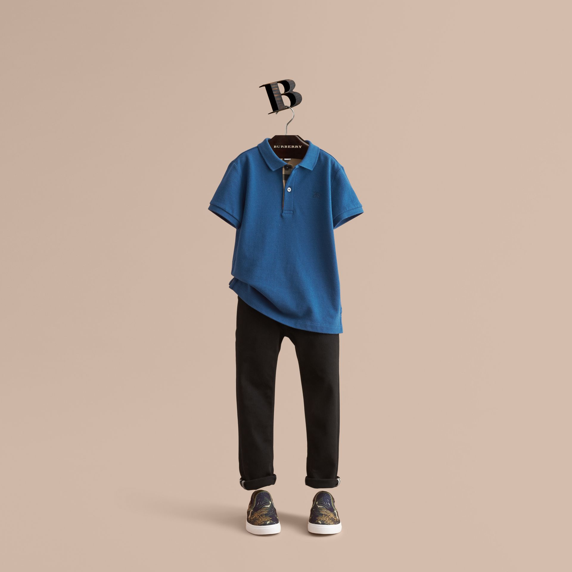 Check Placket Cotton Piqué Polo Shirt - Boy | Burberry - gallery image 1