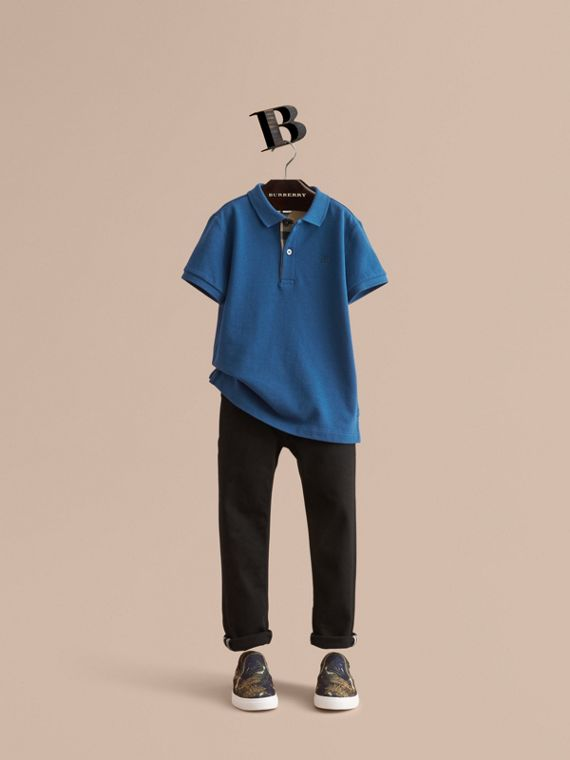 Check Placket Cotton Piqué Polo Shirt - Boy | Burberry Canada