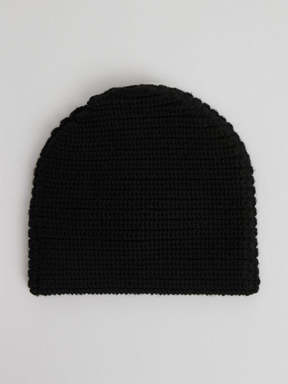 Logo Stripe Wool Beanie in Black | Burberry United Kingdom - cell image 3