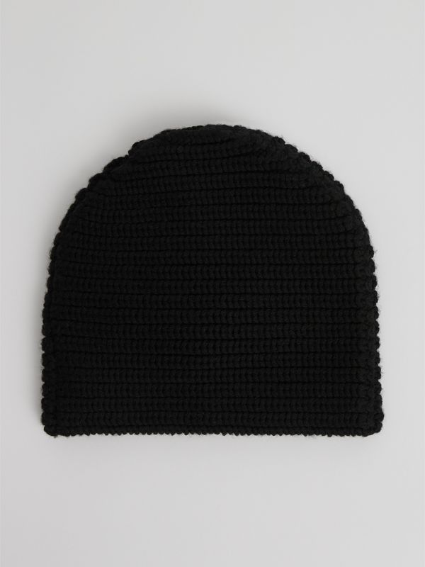 Logo Stripe Wool Beanie in Black | Burberry Singapore - cell image 3