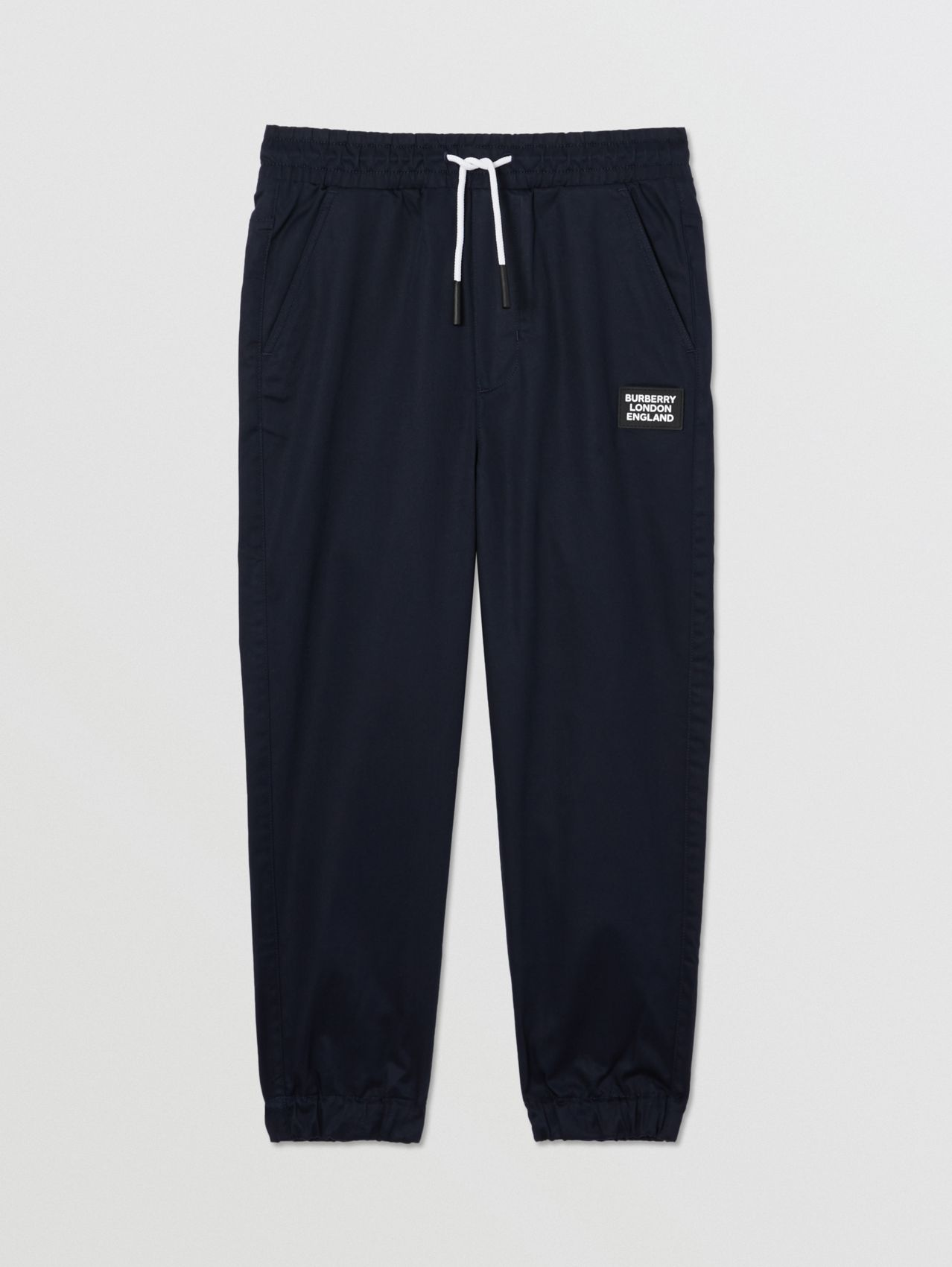 Logo Appliqué Cotton Twill Trackpants in Ink