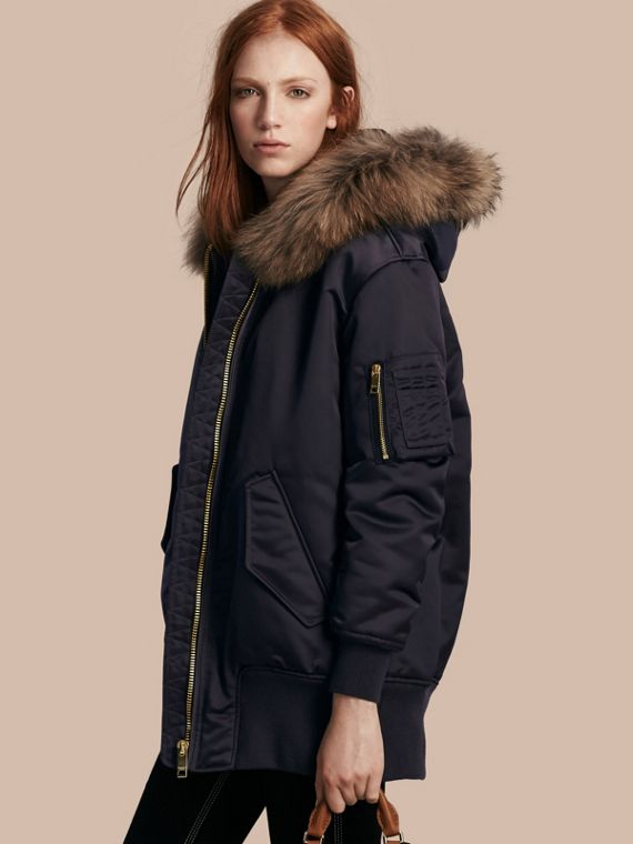 Long-line Satin Bomber Jacket with Fur-trimmed Hood