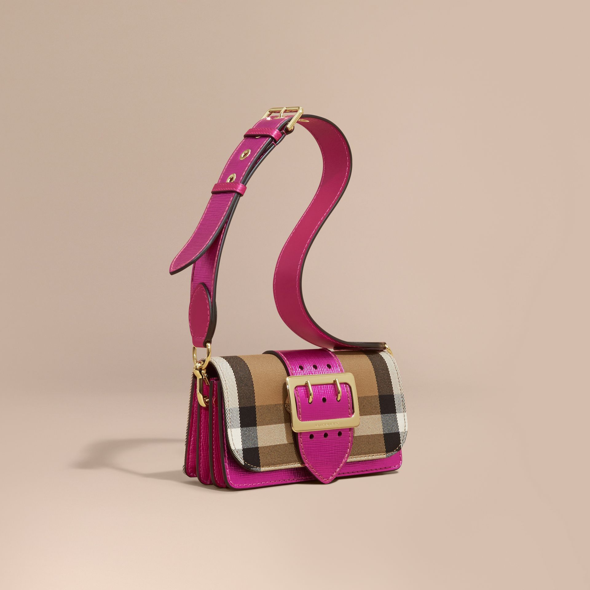 The Small Buckle Bag in House Check and Leather in Bright Pink - gallery image 1
