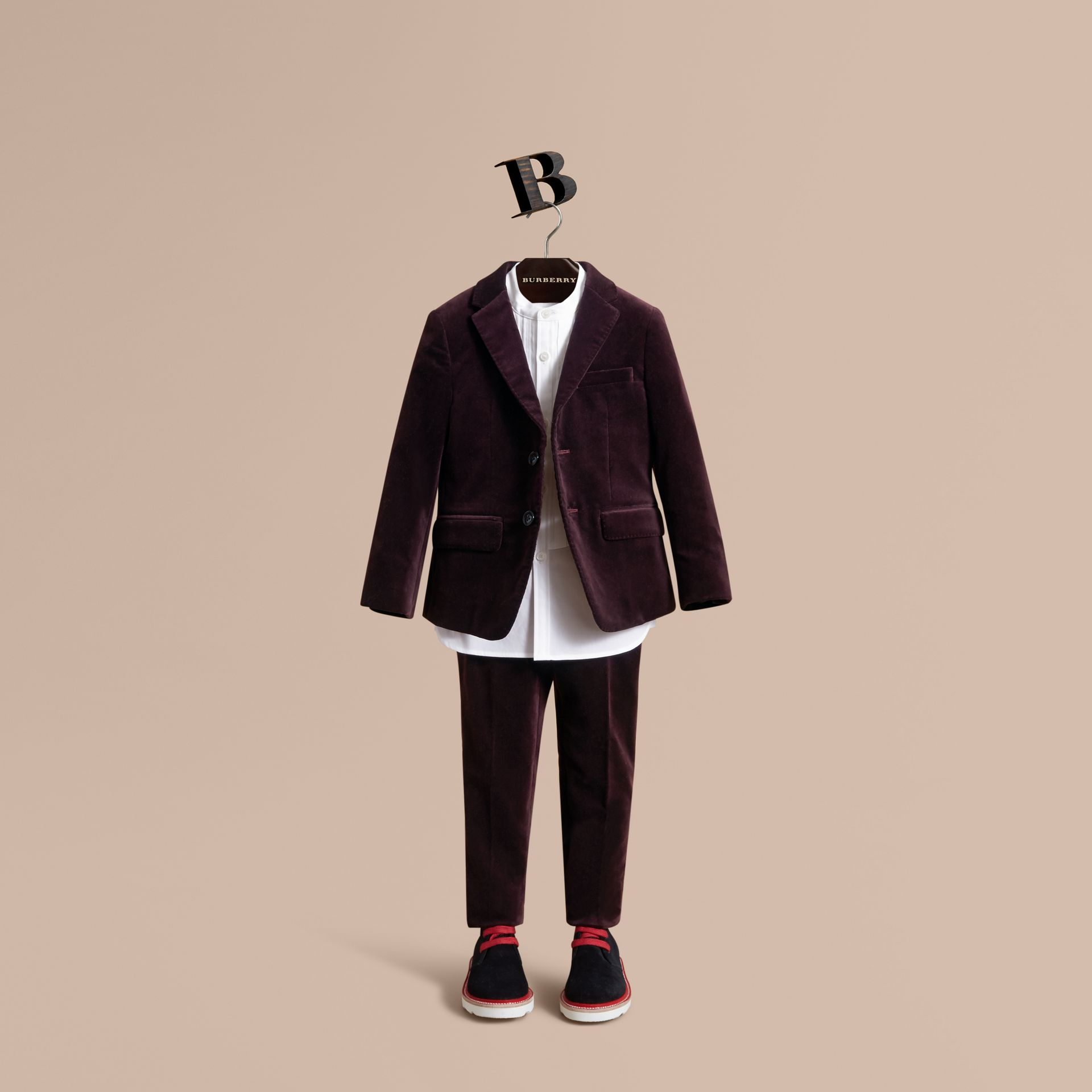 Tailored Velvet Blazer in Blackcurrant - Boy | Burberry Canada - gallery image 1