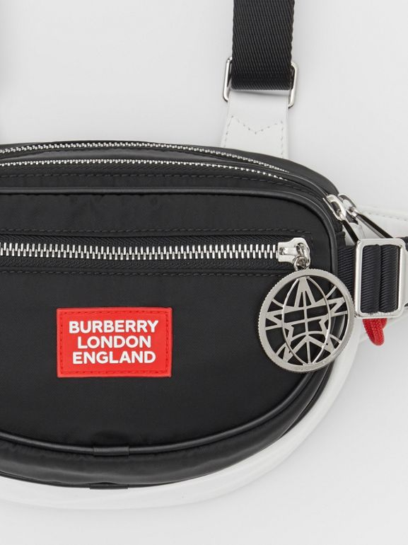 Logo Appliqué ECONYL® Cannon Belt Pack in Black/white/red | Burberry United States - cell image 1