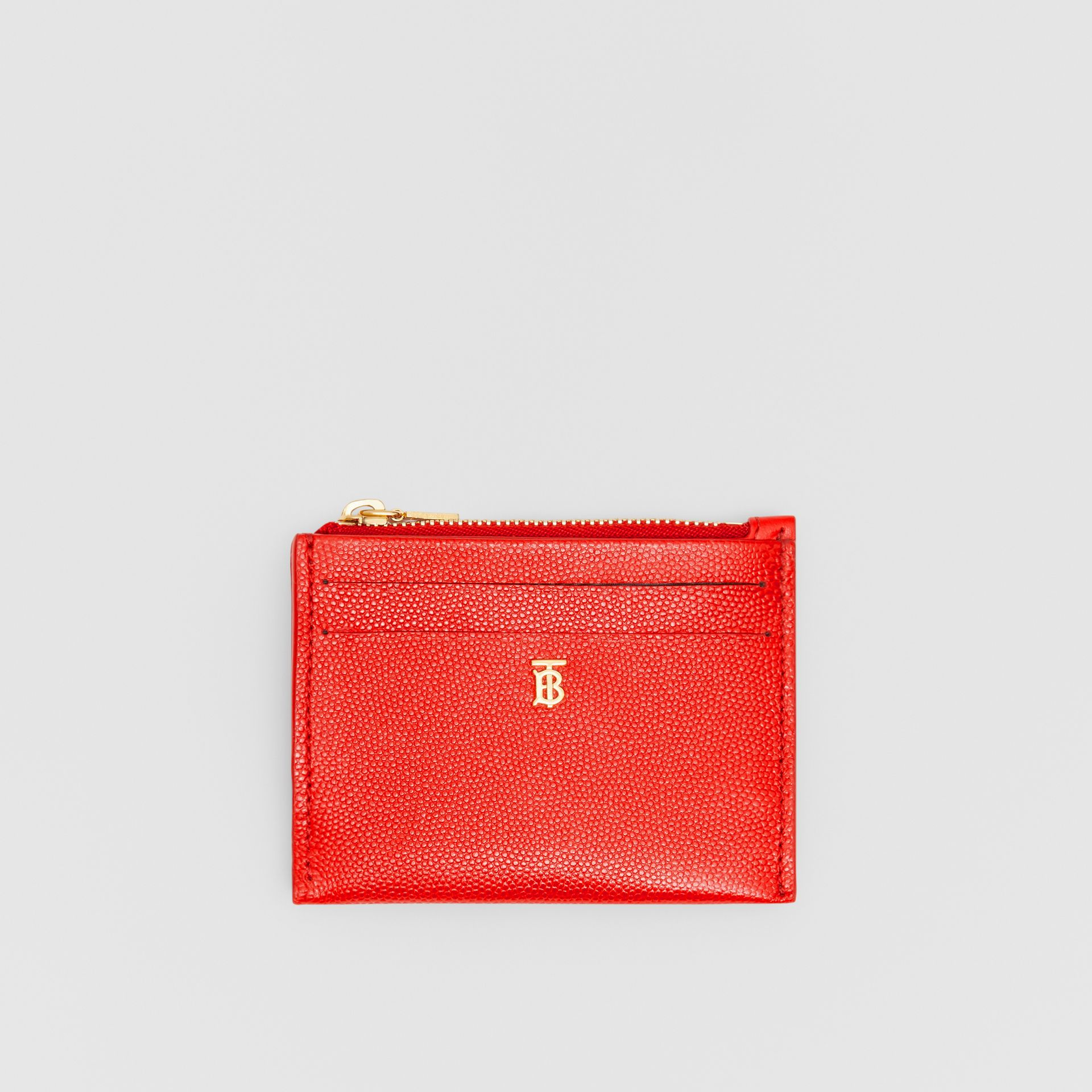 Monogram Motif Grainy Leather Zip Card Case in Bright Red - Women | Burberry - gallery image 0